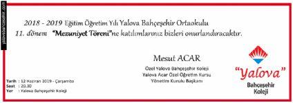 2018 - 2019 Eğitim Öğretim Yılı Yalova Bahçeşehir Ortaokulu 11. dönem