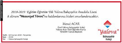 2018 - 2019 Eğitim Öğretim Yılı Yalova Bahçeşehir Anadolu Lisesi 8. dönem